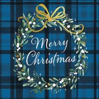 Servietten 33x33 cm - Christmas Plaid Blue