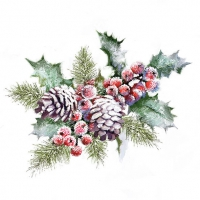 Servietten 33x33 cm - Holly And Berries