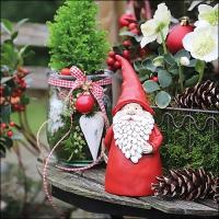 Servietten 33x33 cm - Santa In Garden
