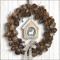 Servietten 33x33 cm - Pine Cone Wreath