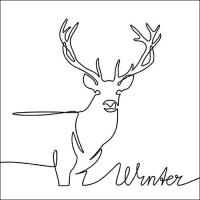 Servietten 33x33 cm - Deer Drawing Black
