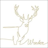 Servietten 33x33 cm - Deer Drawing Gold