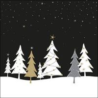 Servietten 33x33 cm - Midnight Trees Black