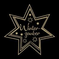 Servietten 33x33 cm - Winterzauber Gold/Black
