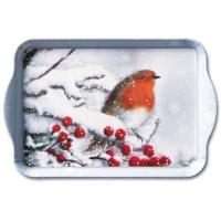 Tablett - Robin im Schnee