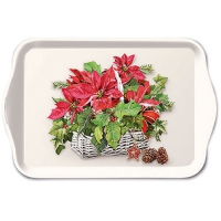 Tablett - 13X21cm Poinsettia In Basket