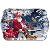 Tablett - 13X21cm Santa On Bench