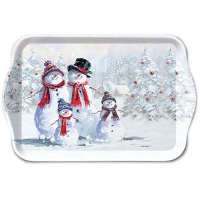 Tablett - 13X21cm Snowman With Hat