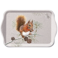 Tablett - 13X21cm Squirrel In Winter