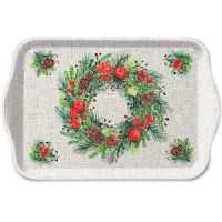 Tablett - 13X21cm Wreath On Linen