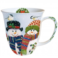 Porzellan-Henkelbecher Snowman Couple