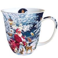 Porzellan-Tasse - Santa On Bench
