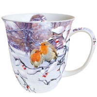 Porzellan-Tasse - Robins On Branch