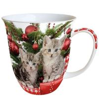 Porzellan-Tasse -  Christmas Kitten