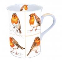 Porzellan-Tasse - Robin Family