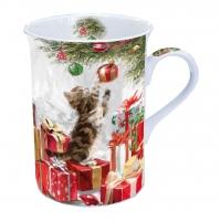 Porzellan-Tasse Kitten And Bauble