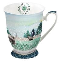 Porzellan-Tasse -  0.25 L Deer Winterscene