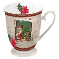 Porzellan-Tasse -  0.25 L Santa Stamp