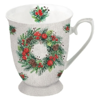 Porzellan-Tasse -  0.25 L Wreath On Linen