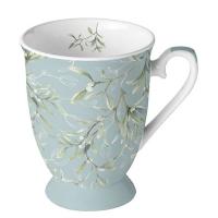 Porzellan-Tasse -  Mistletoe All Over Green