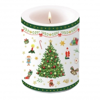 Dekorkerze - Christmas Evergreen White