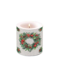Dekorkerze klein -  Wreath On Linen
