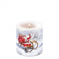Dekorkerze klein - Santa On Sledge