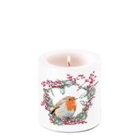 Dekorkerze klein - Robin In Wreath