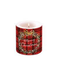 Dekorkerze klein - Christmas Plaid Red