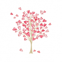 Servietten 25x25 cm - Love Tree