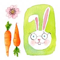 Servietten 25x25 cm - Green Bunny