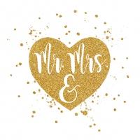 Servietten 25x25 cm - Wedding Heart