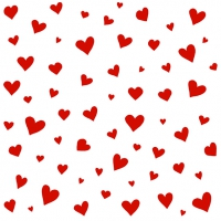Servietten 33x33 cm - Herzen weiß