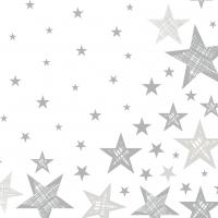 Servietten 33x33 cm - Shining Star White