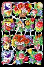 Glanzbilder mit Silber-Glimmer - verschiedene Blumen