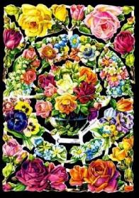 Glanzbilder mit Silber-Glimmer - Vase mit Blumen & Rosen