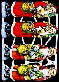 Glanzbilder - 4 Weihnachtsmänner quer