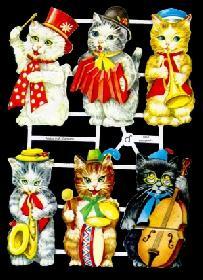 Glanzbilder - menschliche Katzen 50er J.