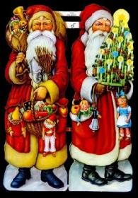 Glanzbilder mit Silber-Glimmer - zwei Weihnachtsmänner im roten Mantel