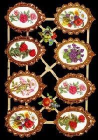 Glanzbilder - Blumenmedaillons