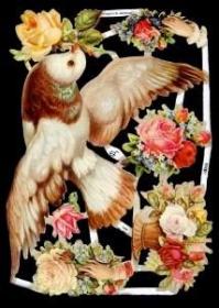 Glanzbilder mit Silber-Glimmer - große Taube mit Rosen