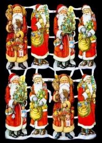 Glanzbilder mit Silber-Glimmer - acht Weihnachtsmänner im roten Mantel