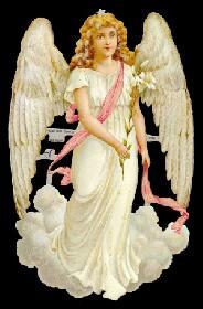 Glanzbilder - großer Engel auf Wolke