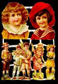Glanzbilder - Kinder mit antiken Kleidern