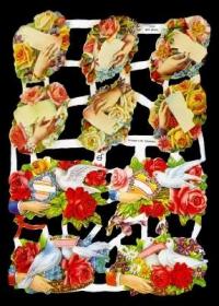 Glanzbilder mit Silber-Glimmer - Rosenstrauß und Tauben in Rosen