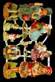 Glanzbilder Kinder mit antiken Kleidern