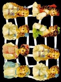 Glanzbilder - 8 Kinderköpfe