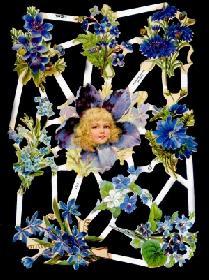 Glanzbilder - blauer Blumenbogen