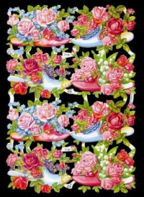 Glanzbilder mit Silber-Glimmer - Rosen in Schuhen
