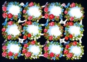 Glanzbilder mit Silber-Glimmer - 12 Blumenkränze. ohne Sprüche
